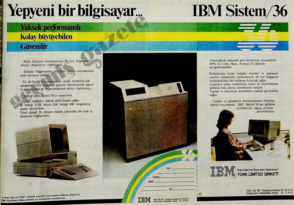 Yepyeni bir bilgisayar...IBM Sistem / 36