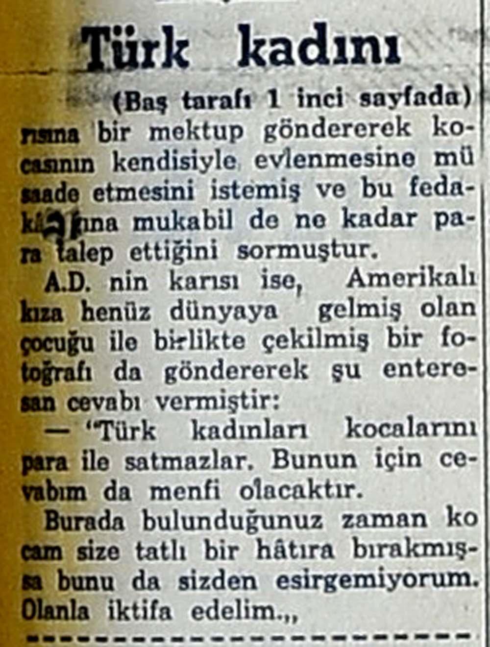 """""""Türk kadını kocasını para ile satmaz!"""""""