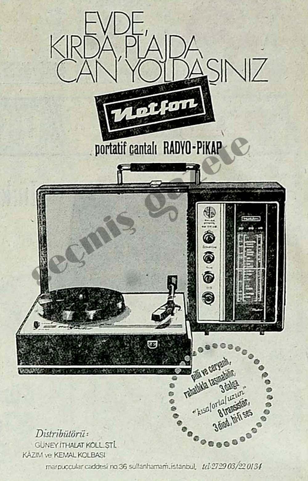 Evde, kırda, plajda can yoldaşınız Netfon portatif çantalı Radyo-Pikap