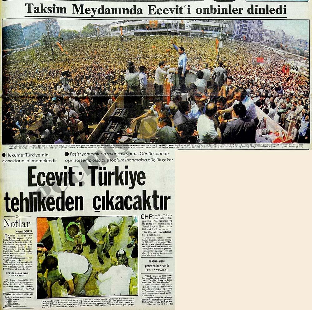 Taksim Meydanında Ecevit'i onbinler dinledi