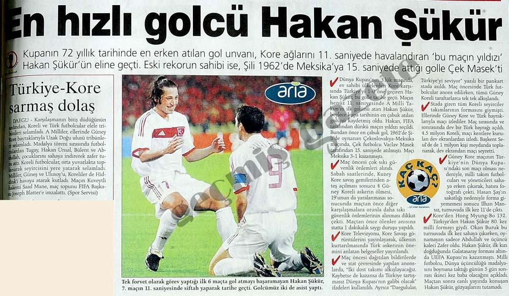 En hızlı golcü Hakan Şükür