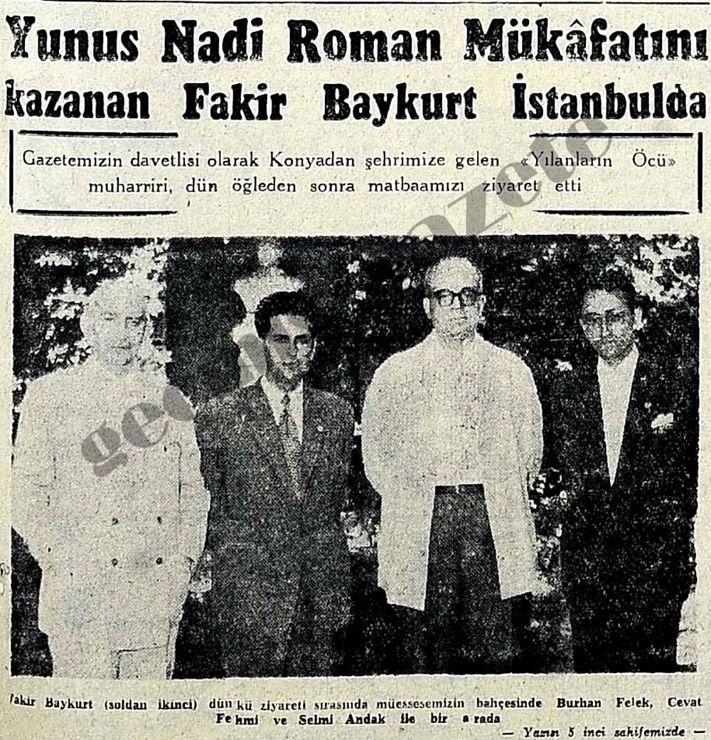 Yunus Nadi Roman Mükafatını kazanan Fakir Baykurt İstanbulda