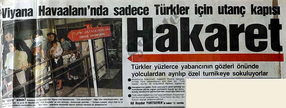 Viyana Havaalanı'nda sadece Türkler için utanç kapısı