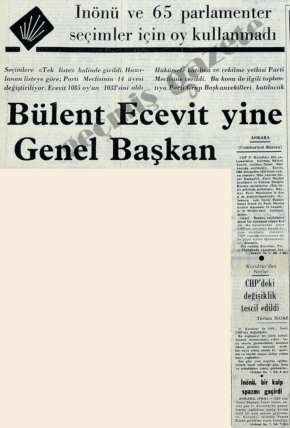 Ecevit yine Genel Başkan