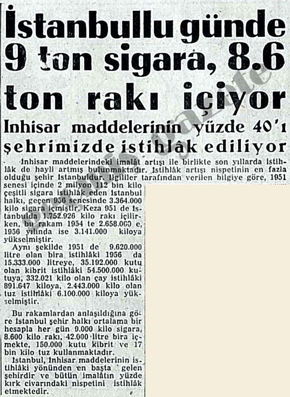 İstanbullu günde 9 ton sigara, 8.6 ton rakı içiyor