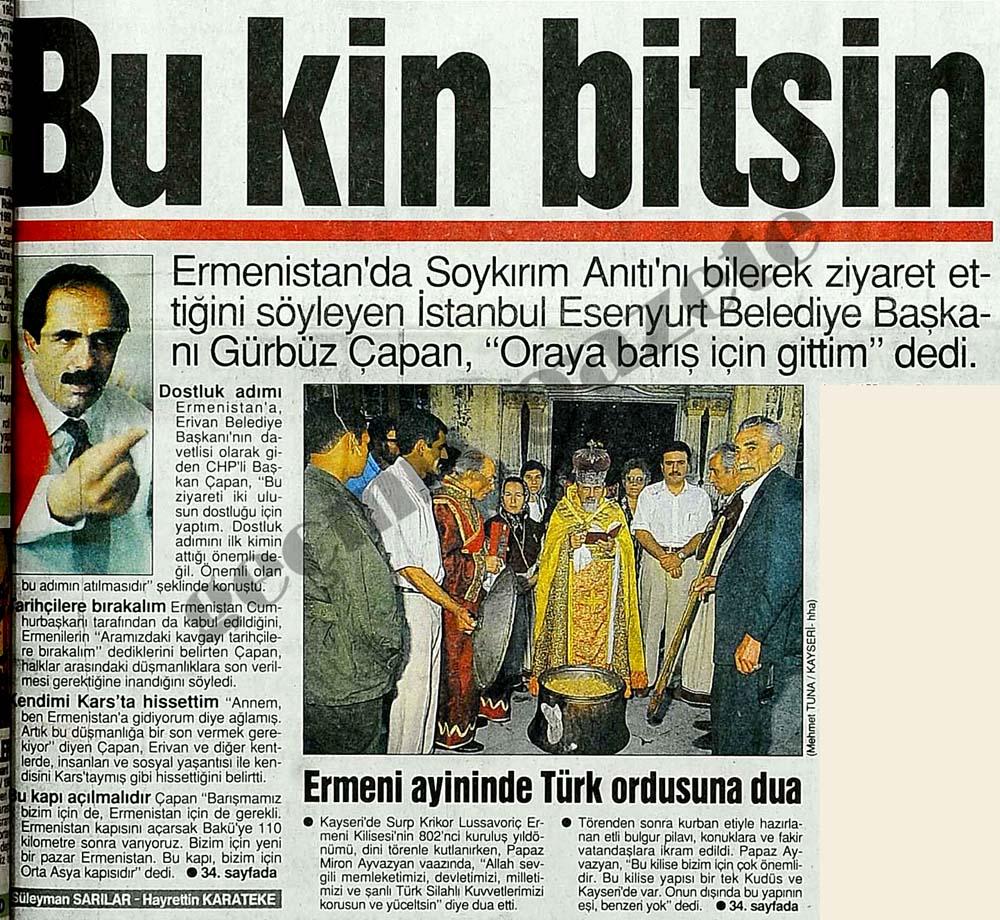 Ermeni ayininde Türk ordusuna dua