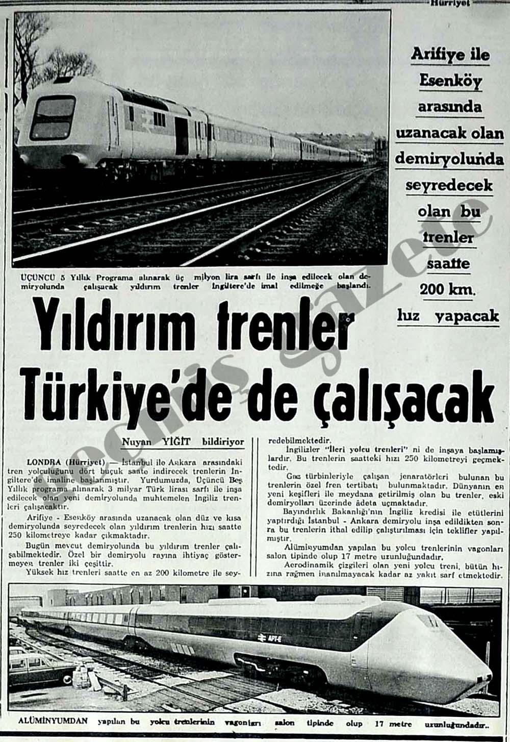 Yıldırım trenler Türkiye'de de çalışacak