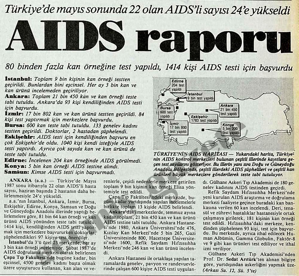 Türkiye'de mayıs sonunda 22 olan AIDS'li sayısı 24'e yükseldi