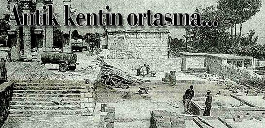 Zeus Tapınağı'nın bahçesine tuvalet temeli