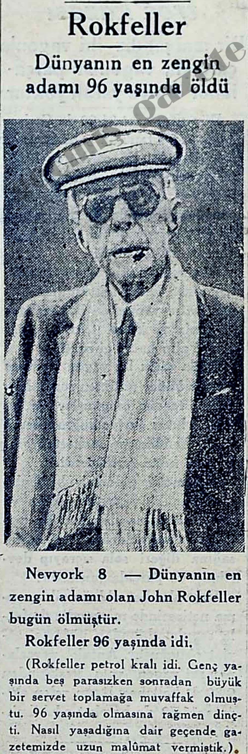 Dünyanın en zengin adamı Rokfeller 96 yaşında öldü