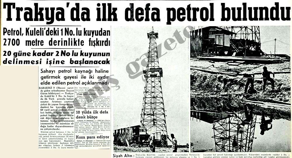 Trankya'da ilk defa petrol bulundu