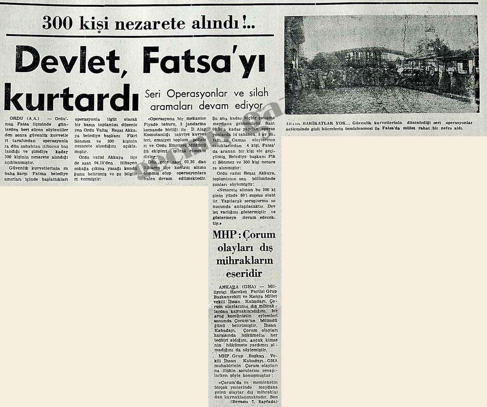 Devlet, Fatsa'yı kurtardı