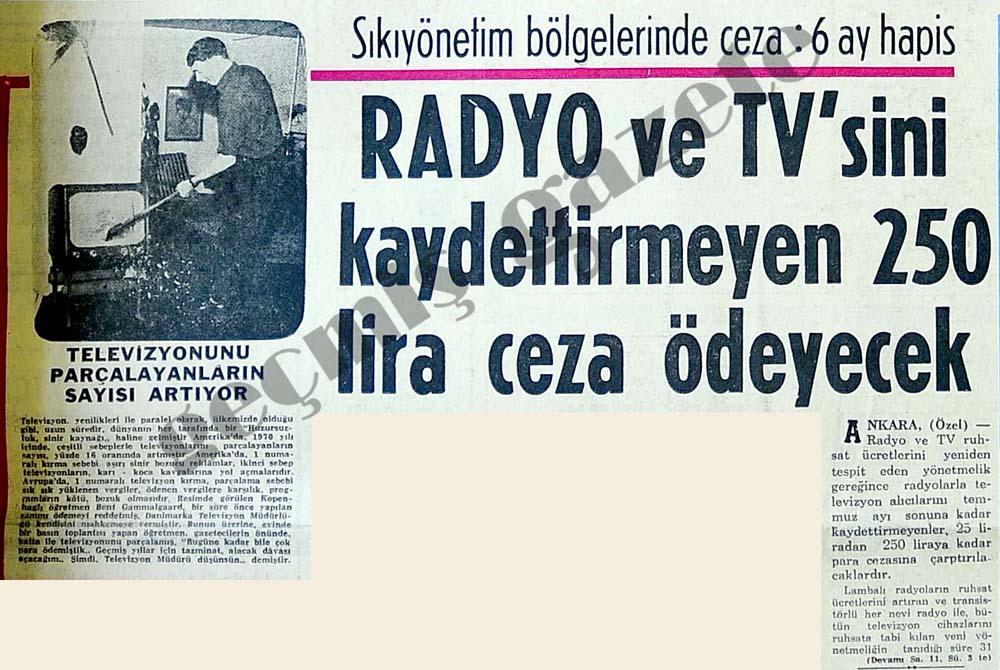 Radyo ve TV'sini kaydettirmeyen ceza ödeyecek