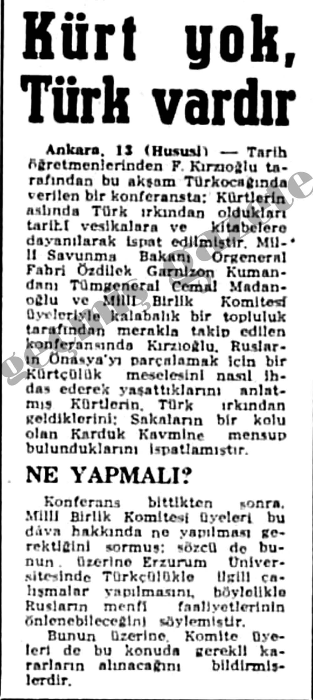 Kürt yok, Türk vardır