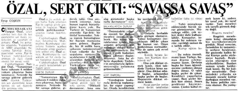 """Özal, sert çıktı: """"Savaşsa Savaş"""""""