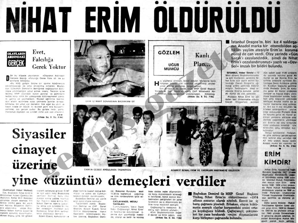 Nihat Erim öldürüldü