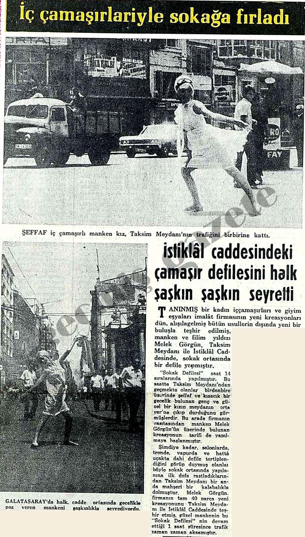İstiklal caddesindeki çamaşır defilesini halk şaşkın şaşkın seyretti