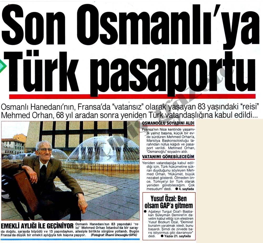 Son Osmanlı'ya Türk pasaportu