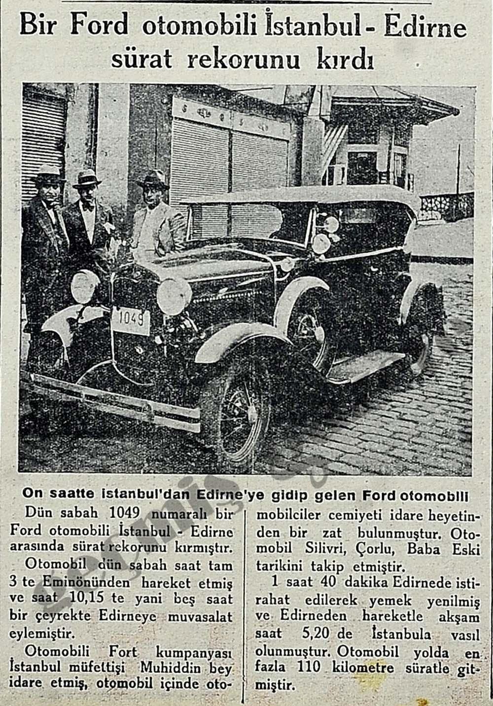 Bir Ford otomobili İstanbul-Edirne sürat rekorunu kırdı