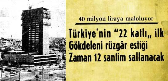 """Türkiye'nin """"22 katlı"""" ilk gökdeleni"""