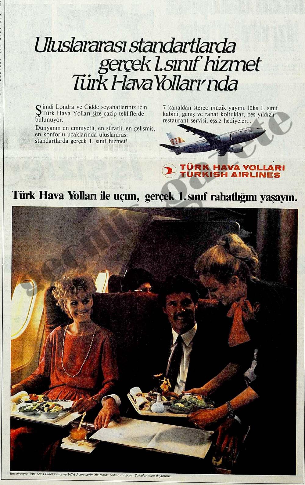 Uluslararası standartlarda gerçek 1.sınıf hizmet Türk Hava Yolları'nda
