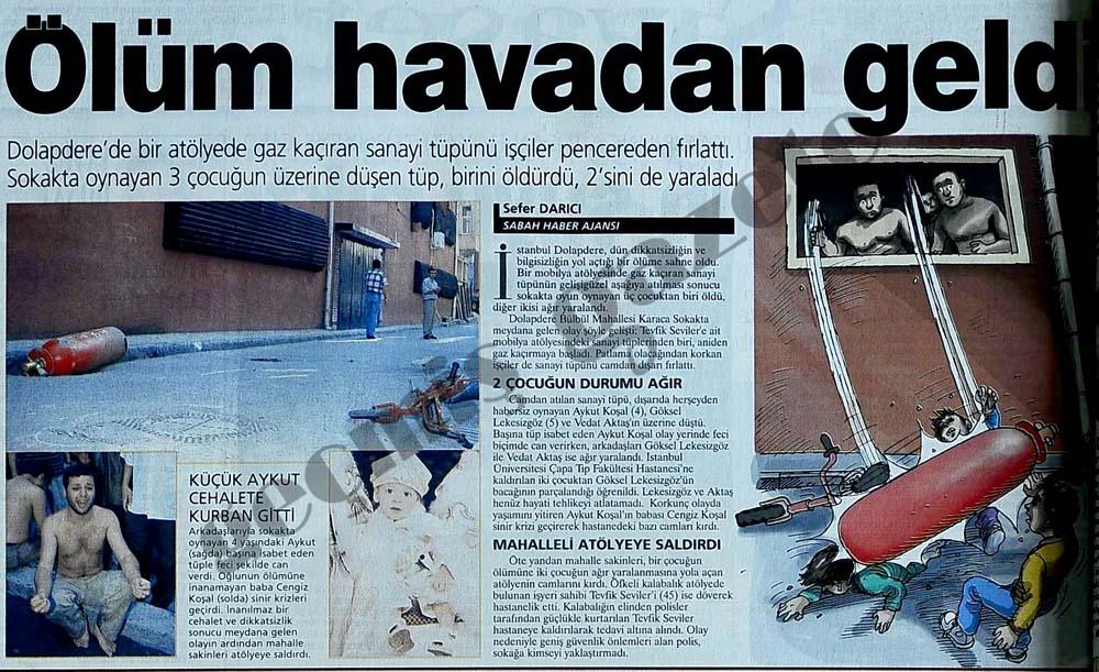 Dolapdere'de bir atölyede gaz kaçıran sanayi tüpünü işçiler pencereden fırlattı