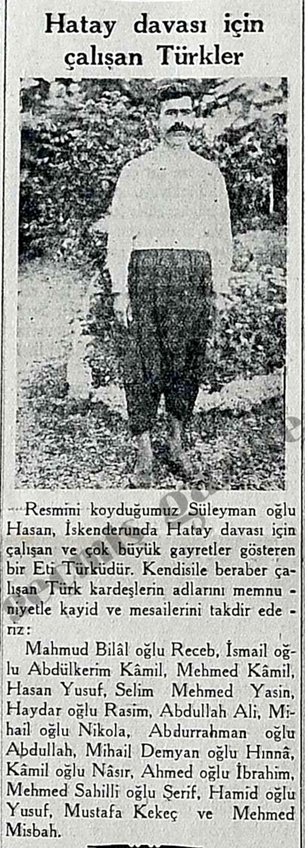 Hatay davası için çalışan Türkler