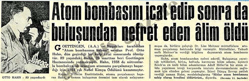 Otto Hahn öldü