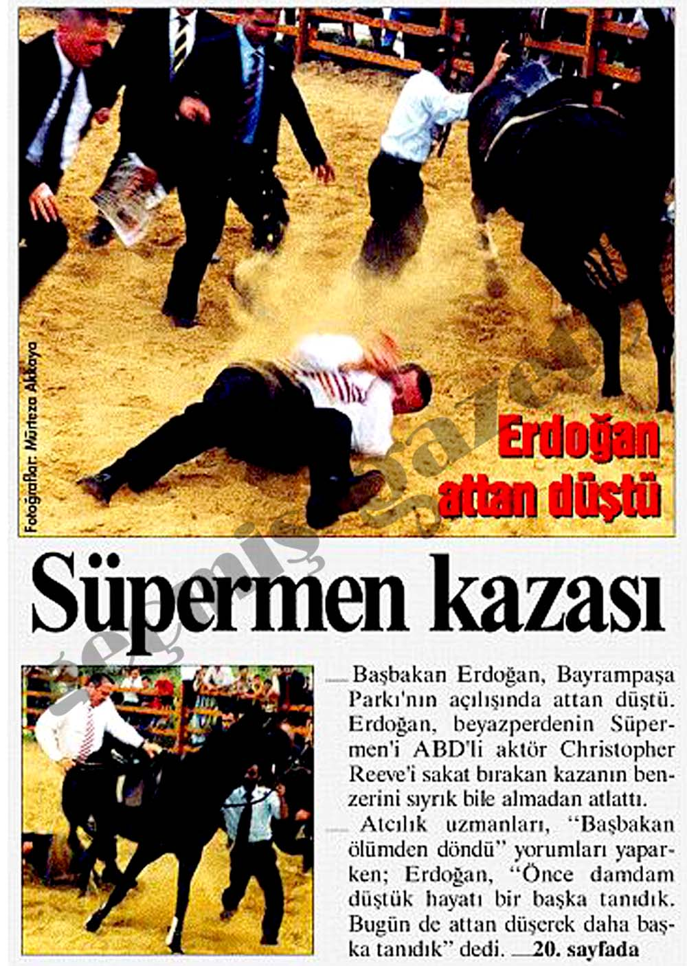 Erdoğan attan düştü