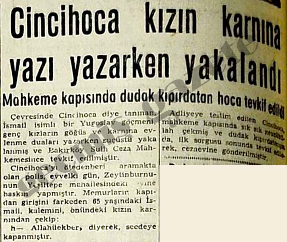 Cincihoca kızın karnına yazı yazarken yakalandı