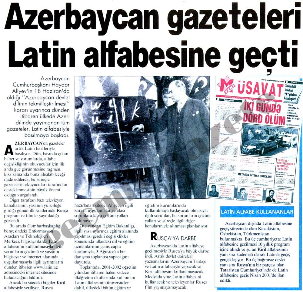 Azerbaycan gazeteleri Latin alfabesine geçti