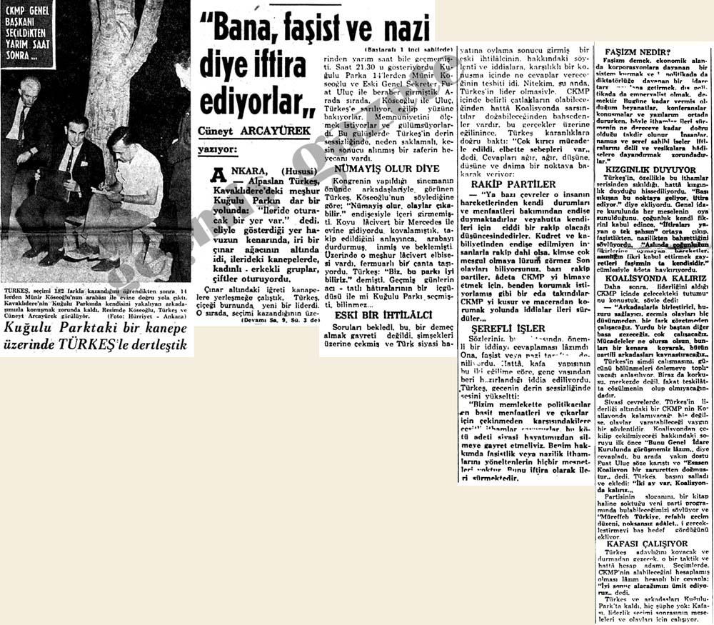 """Türkeş """"Bana, faşist ve nazi diye iftira atıyorlar"""""""