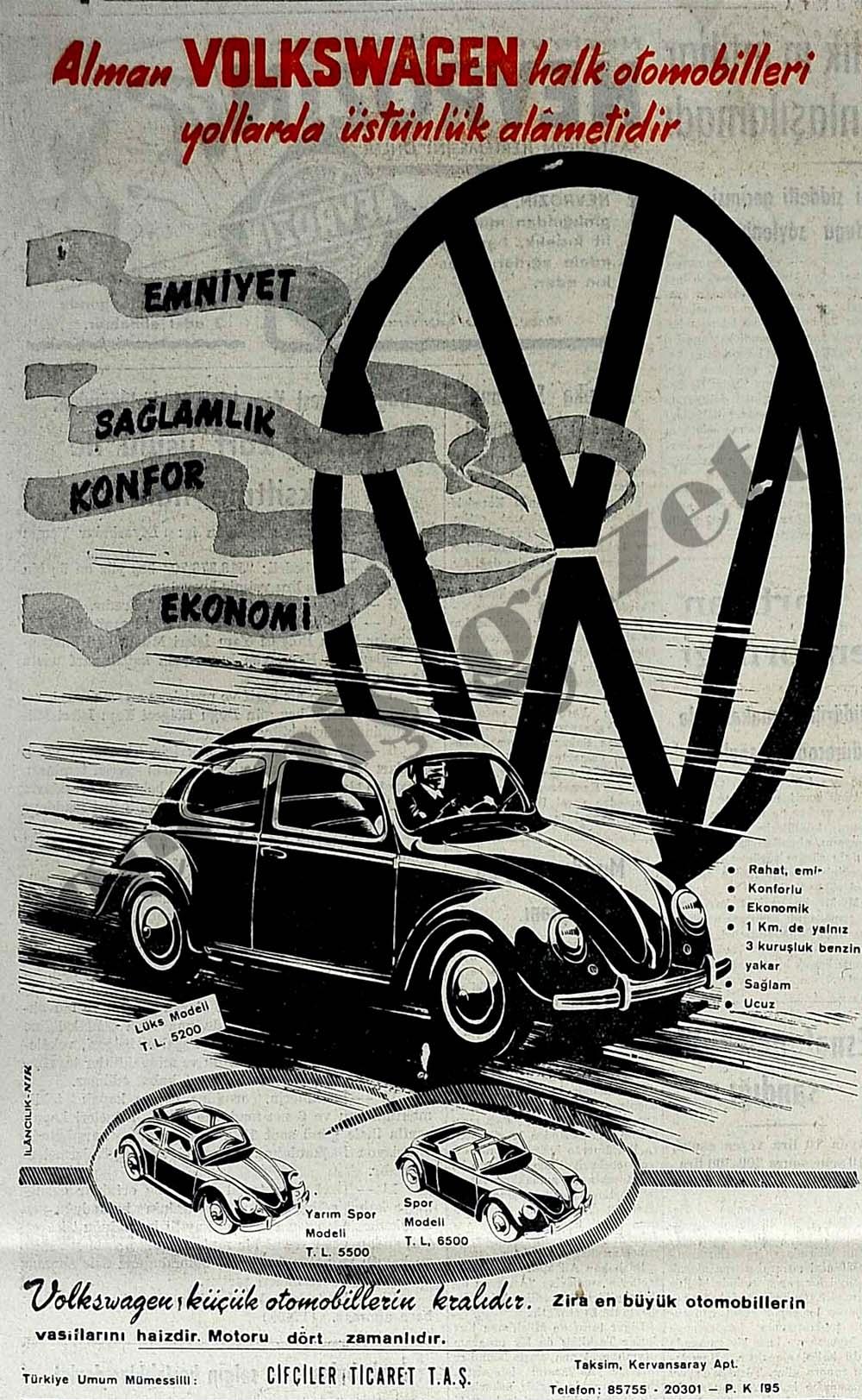 Alman Volkswagen halk otomobilleri yollarda üstünlük alametidir