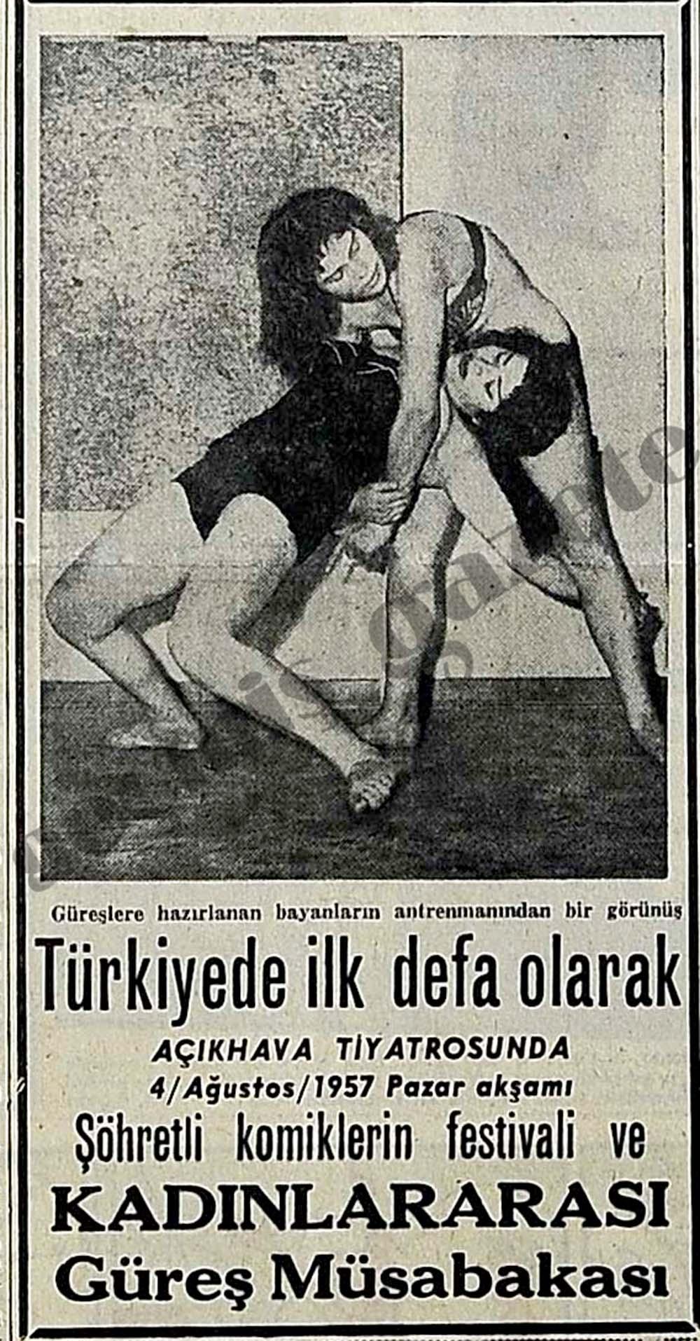Türkiyede ilk defa olarak Kadınlararası Güreş Müsabakası