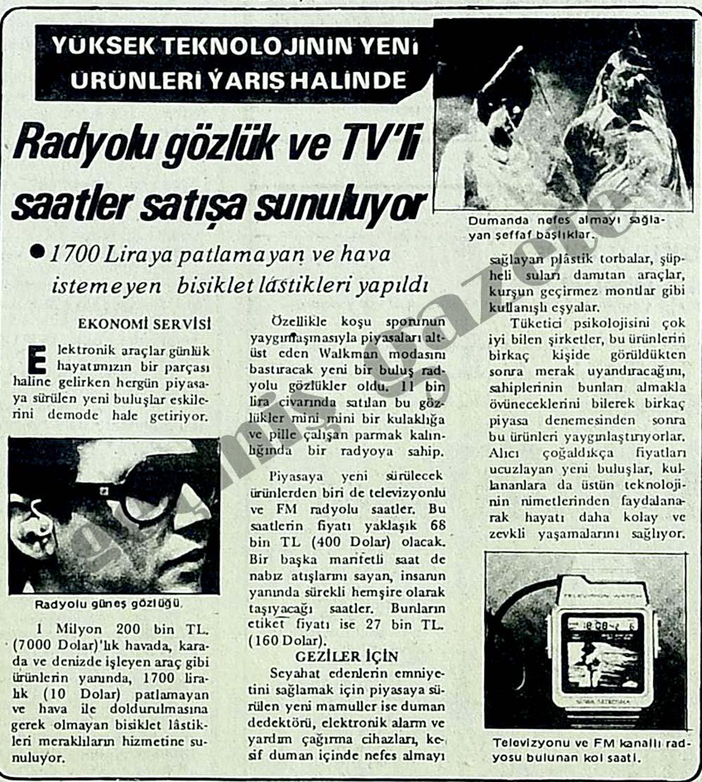 Radyolu gözlük ve TV'li saatler satışa sunuluyor