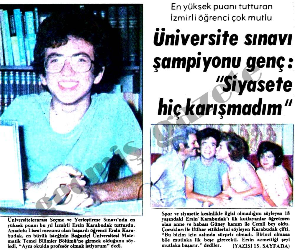 """Üniversite sınavı şampiyonu genç: """"Siyasete hiç karışmadım"""""""