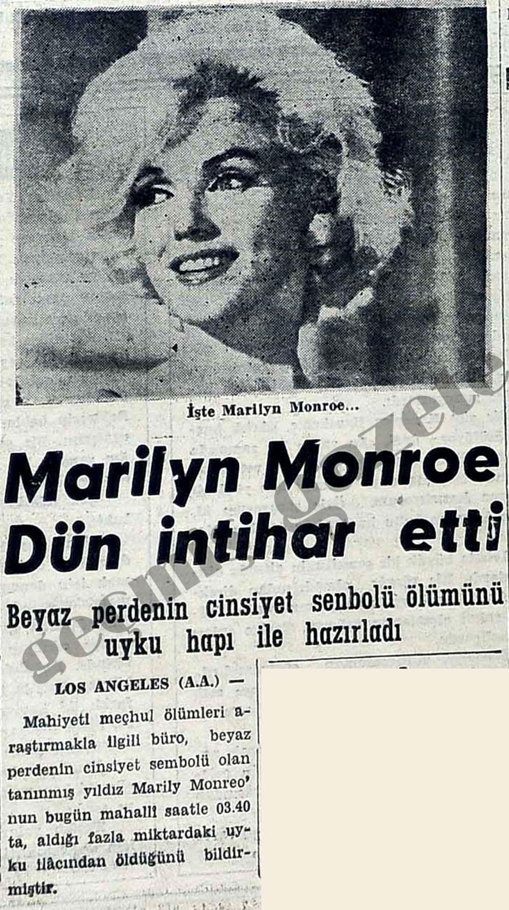 Marilyn Monroe intihar etti