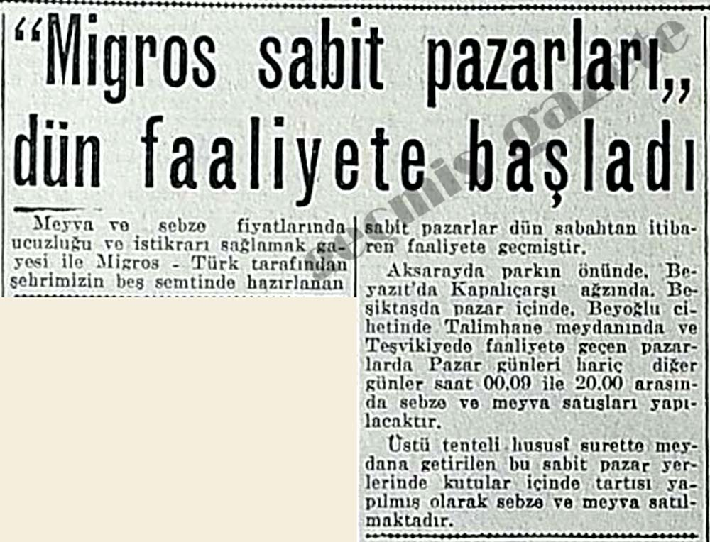 """Migros sabit pazarları"" dün faaliyete başladı"
