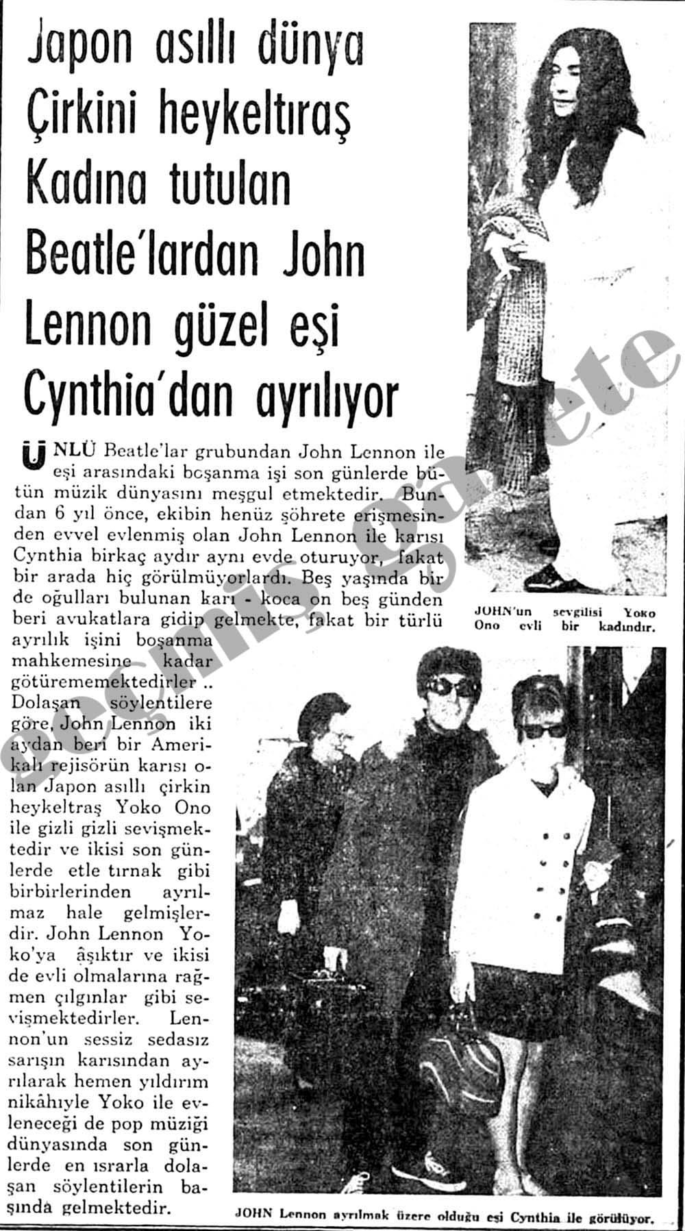 Japon asıllı dünya çirkini heykeltıraş kadına tutulan Beatle'lardan John Lennon