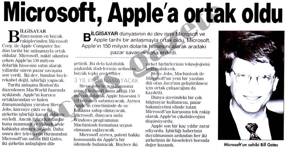 Microsoft, Apple'a ortak oldu