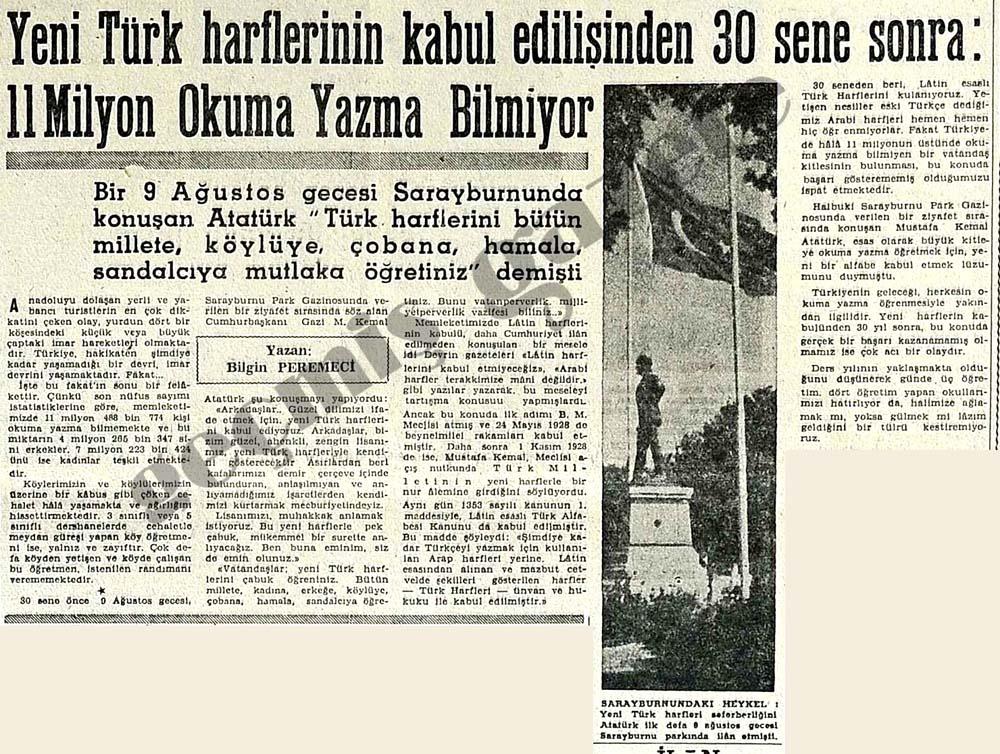 Y.Türk harflerinin kabul edilişinden 30 sene sonra 11 milyon okuma yazma bilmiyor