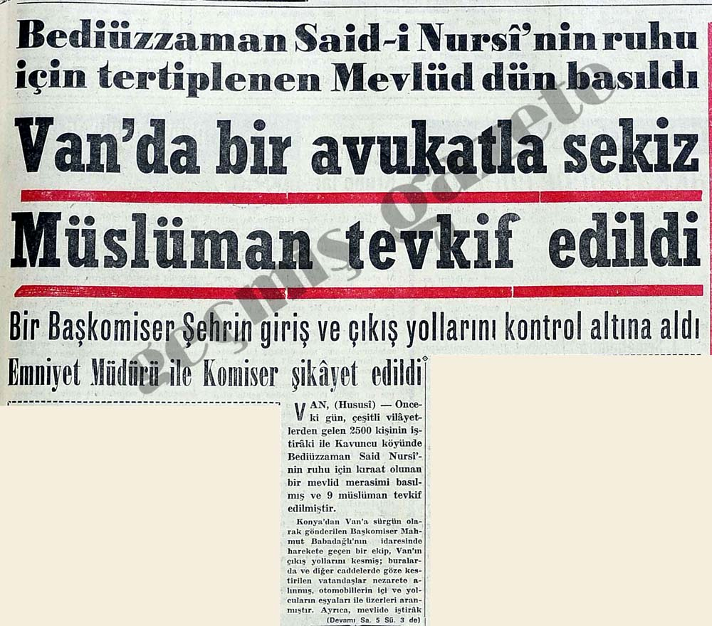 Bediüzzaman Said-i Nursi'nin ruhu için tertiplenen Mevlüd dün basıldı