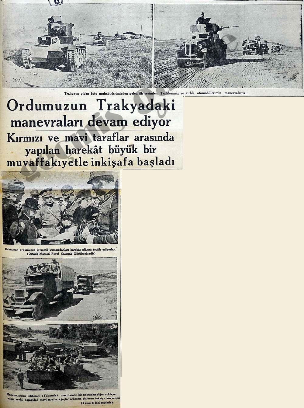 Ordumuzun Trakyadaki manevraları