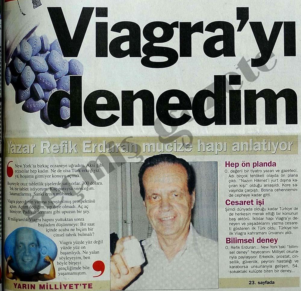 Refik Erduran Viagra'yı kullanıp yazan ilk Türk oldu