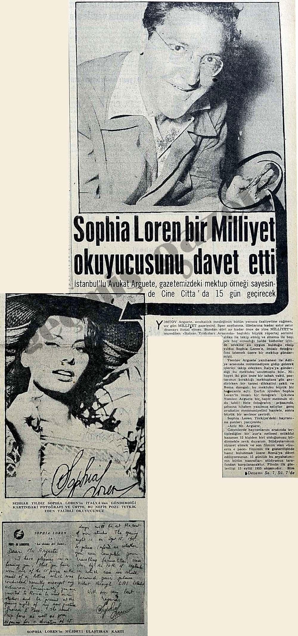 Sophia Loren bir Milliyet okuyucusunu davet etti