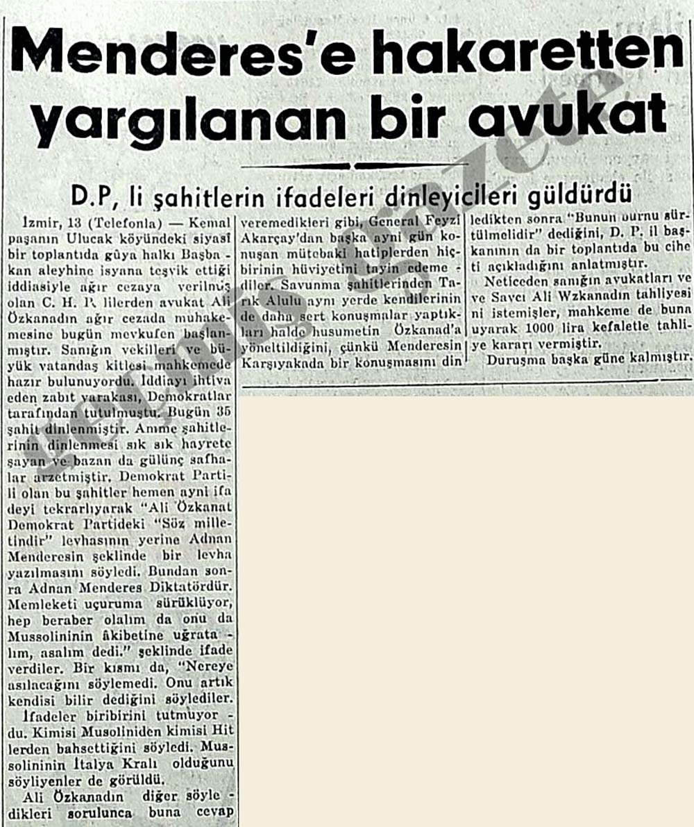 Menderes'e hakaretten yargılanan bir avukat