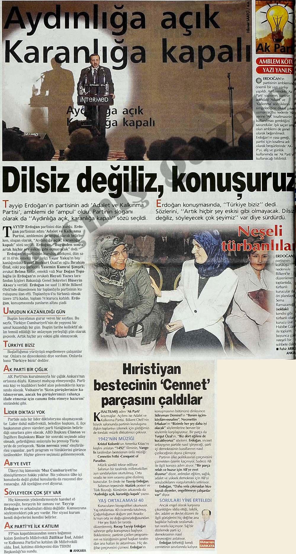 Tayyip Erdoğan'ın partisinin adı 'Adalet ve Kalkınma Partisi', amblemi de 'ampul' oldu