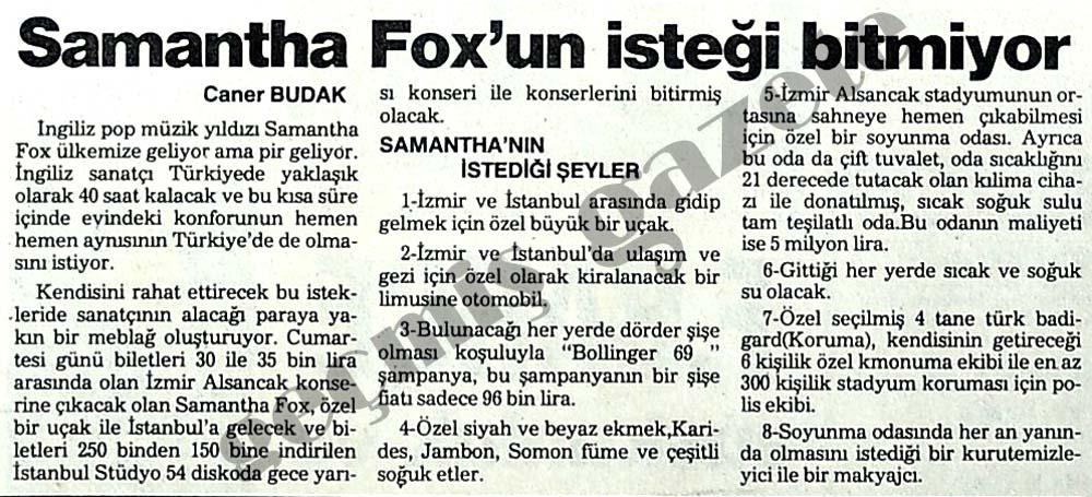 Samantha Fox'un istekleri bitmiyor