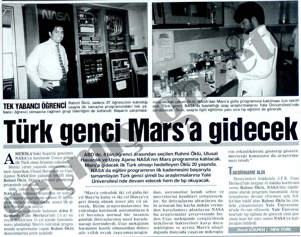 Türk genci Mars'a gidecek