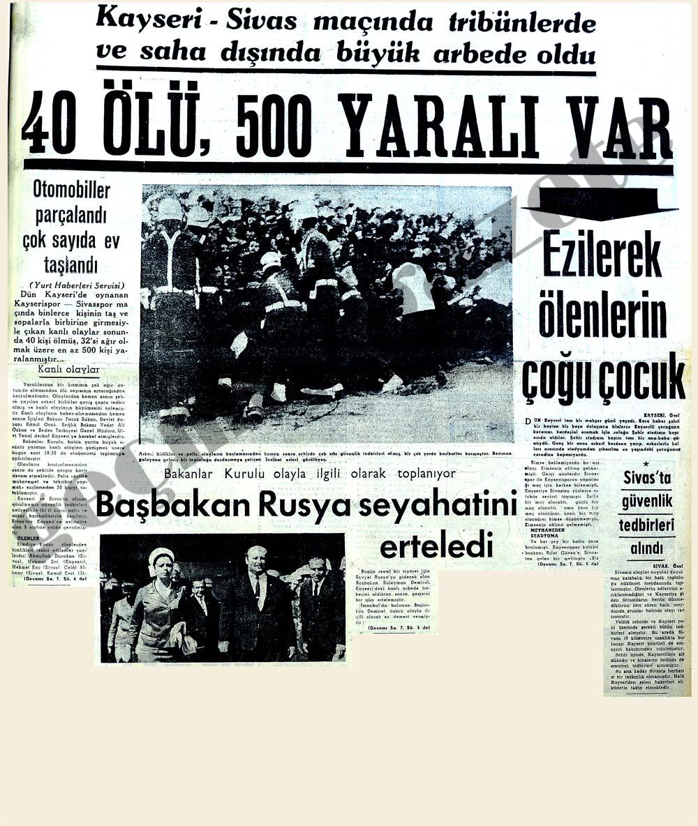 Kayseri-Sivas maçında tribünlerde ve saha dışında arbede oldu 40 ölü 500 yaralı var